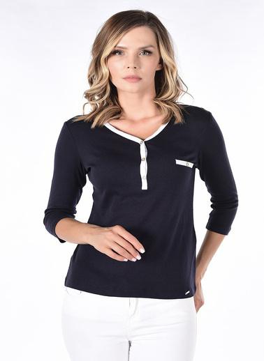 Optique Knitwear Düz Polo Yaka Uzun Kol Penye Bluz Lacivert